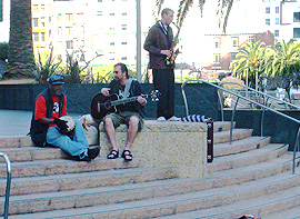 Jazz trio on the steps of Union Square