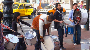 Drum quintet at Market & Powell cable car turntable