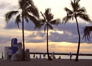 Sunset on Waikiki Beach in Honolulu