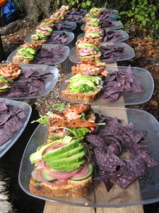 Smoked salmon sandwiches served during Gourment Kayaking