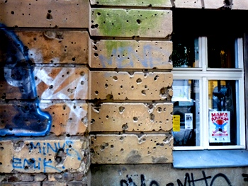 World War II bullet holes in East Berlin