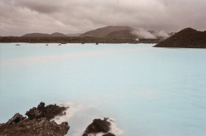The steaming, murky Blue Lagoon geothermal pool, Iceland