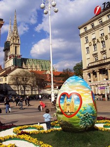 One of Zagreb's jumbo painted Easter eggs