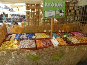 An assortment of flavored fudge for sale at Krakow's Easter market