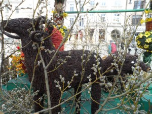 A rustic display of pussy willows and animals made of sticks at Krakow's market