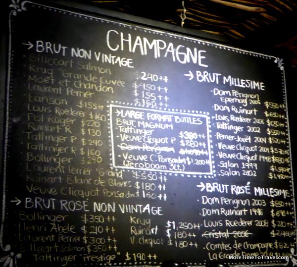 """""""Menu"""" at the Champagne Bar at The Resort at Pedregal (Credit: Resort at Pedregal)"""