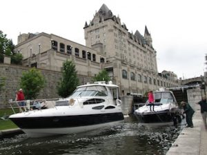 Boats coming through locks at the Rideau Canal