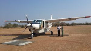 Arriving at Azura Selous by plane