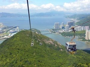 The brilliant Ngong Ping 360 cable cars - on a clear day!
