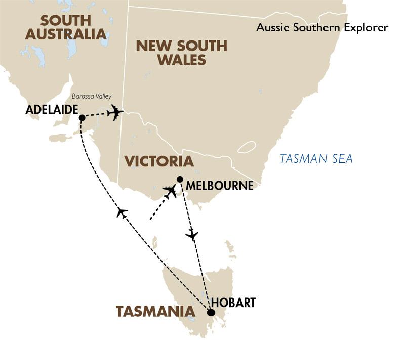 Aussie Southern Explorer Map