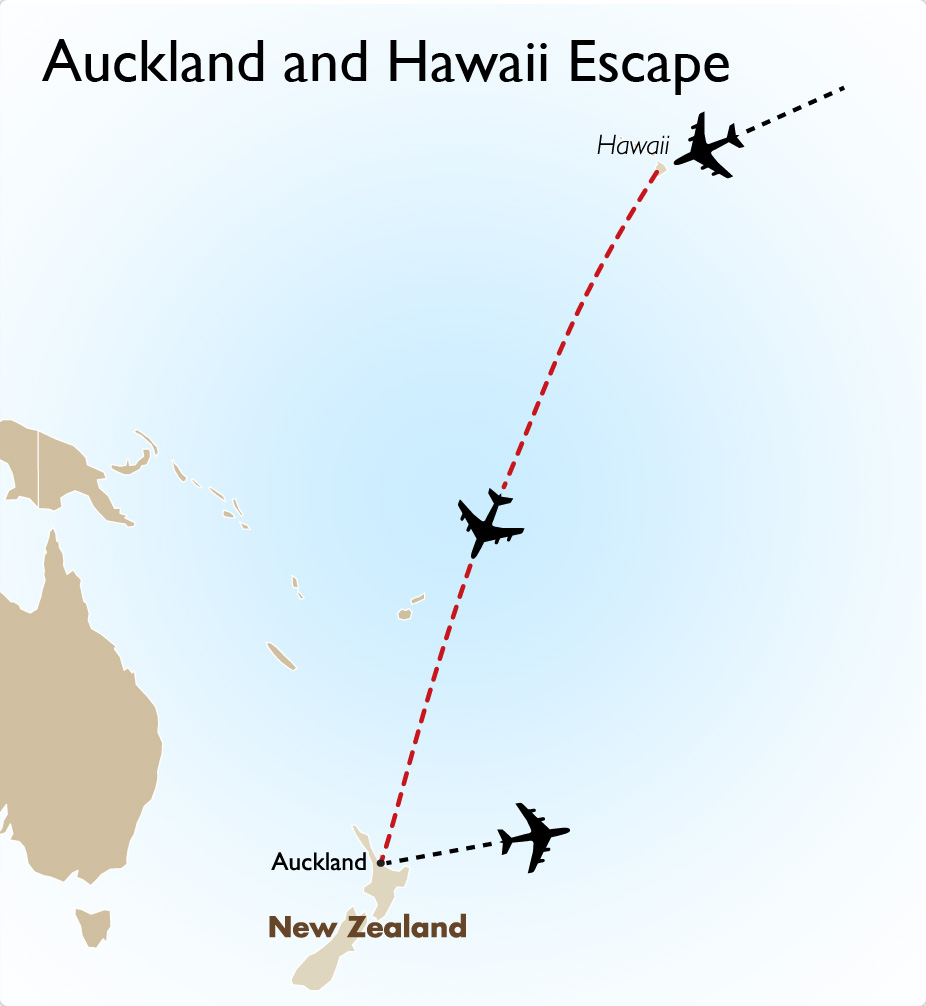 Auckland and Hawaii Escape Map