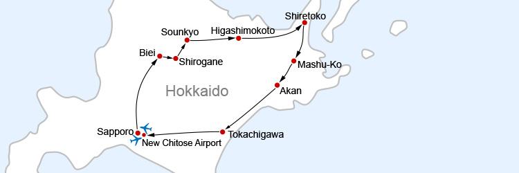 Hokkaido Island Spring Map