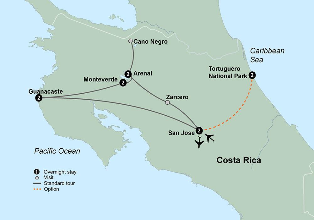 Tropical Costa Rica Map