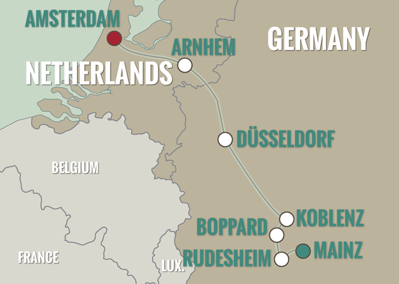 Cruise Route Mainz to Amsterdam