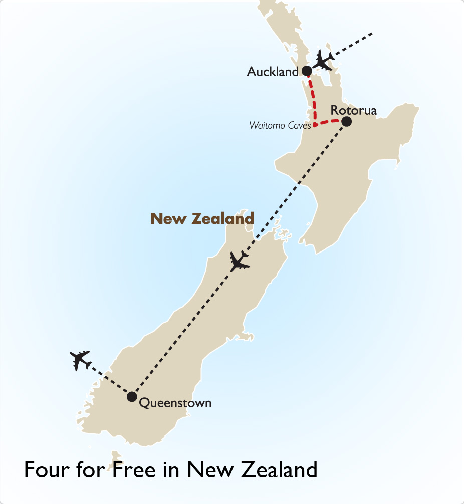 Four for Free in New Zealand Map