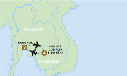 Temples of Thailand and Cambodia 8day Map