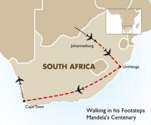 walking in his footsteps - mandelas centenary map