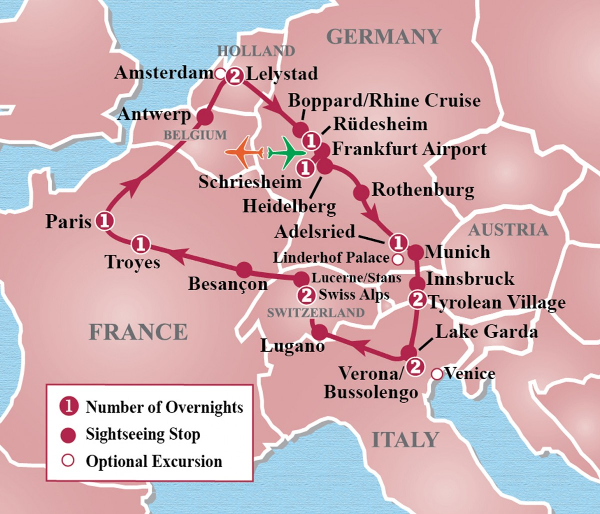 Heart of Europe Circle Tour Map