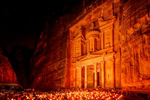 Al Khazneh in the ancient city of Petra, Jordan at night