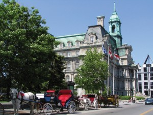 Montreal City Hall with horse carriages