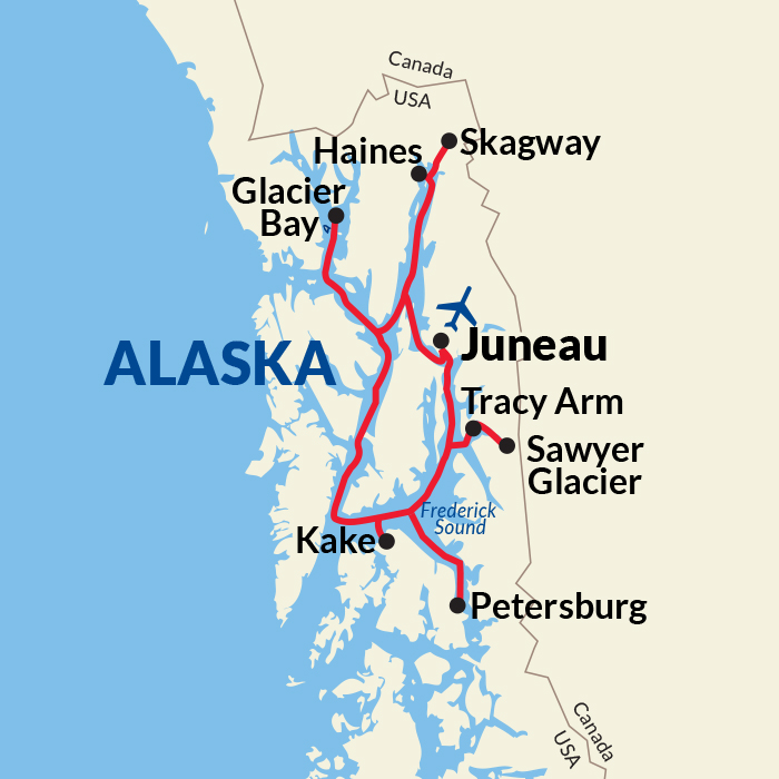 Southeast Alaska Cruise map